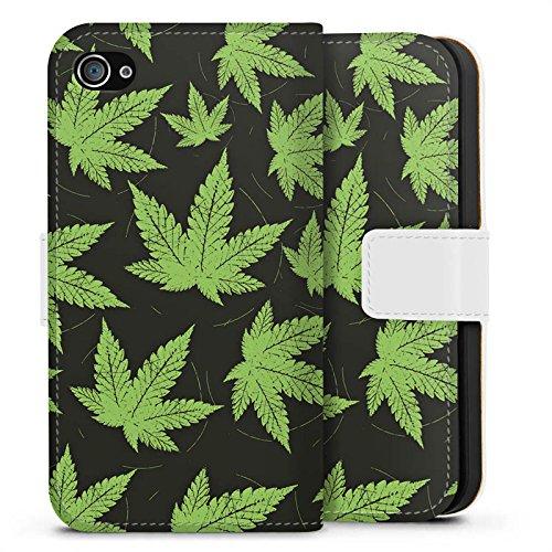 Apple iPhone X Silikon Hülle Case Schutzhülle Hanfblatt Weed Gras Grün Sideflip Tasche weiß
