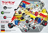 Einsteiger Tronico Metallbaukasten, 5 Modelle, 5-in-1, Rennfahrzeuge, 246 Teile, bunte Teile, 4-farbige Aufbauanleitung, inklusive Werkzeug, ab 8 Jahren, Starter Set, Multibaukasten, rcee
