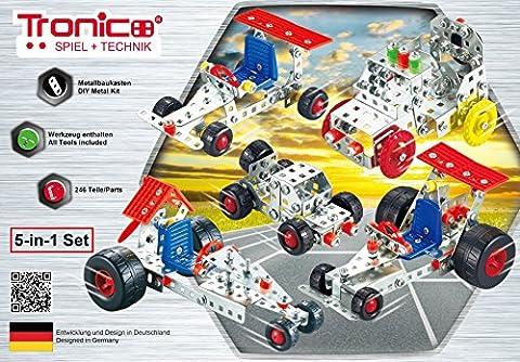 Tronico Metallbaukasten, 5 Modelle, 5-in-1, Rennfahrzeuge, 246 Teile, bunte Teile, 4-farbige Aufbauanleitung, inklusive Werkzeug, ab 8 Jahren, Starter Set, Multibaukasten,