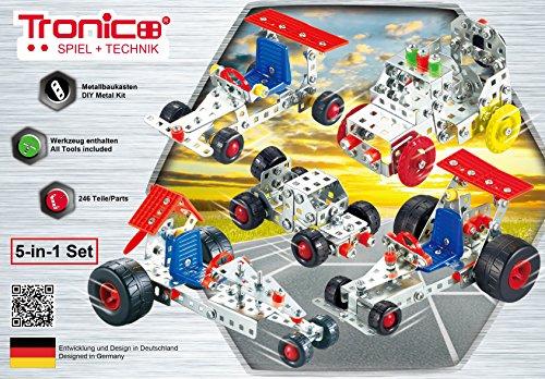 Tronico Metallbaukasten, 5 Modelle, 5-in-1, Rennfahrzeuge, 246 Teile, bunte Teile, 4-farbige Aufbauanleitung, inklusive Werkzeug, ab 8 Jahren, Starter Set, Multibaukasten, rcee