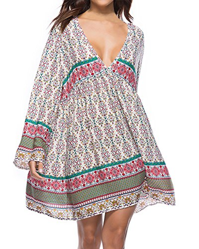 Kidsform Damen Casual Kleid Langes Shirt Lose Tunika V-Ausschnitt Langarm Vintage Retro Minikleid Weiß+Grün L=EU40-42
