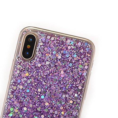 per iPhone 7 Plus/ iPhone 8 Plus 5.5 Custodia case,Herzzer Mode Crystal Creativo trasparente cover,lusso di Bling brillantini glitter paillettes Rosso,Unico Molto sottile Silicone Bumper morbido TPU  viola