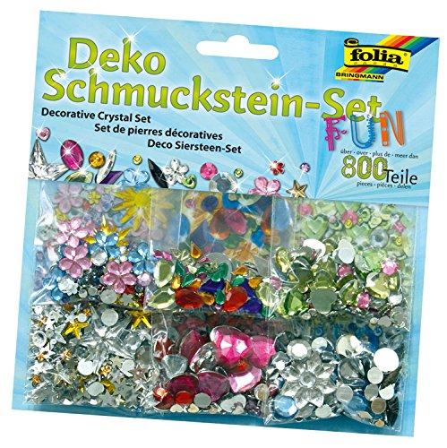 folia 12619 - Deko Schmucksteine Set Fun, über 800 Teile, sortiert - ideal zum Verzieren und Dekorieren Ihrer Bastelarbeiten