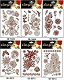 Adecco LLC 6PC Fashion Flash Waterproof Tattoo Women Red Ink Henna Jewel Sexy Lace Flower Pendant Wed Henna Temporary Tattoo Stick