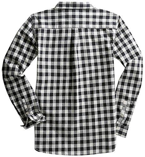 Mocotono Hemd Herren Kariertes Hemd Langarm Baumwolle Casual Hemd mit Super  Qualität Schwarz-Weiß Kariertes ... fc676f3d63