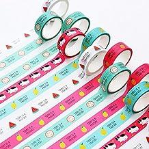 SUXIAN 5 rollos cinta adhesiva Washi cinta de carrocero arte manualidades DIY scrapbooking adhesivo (envío al azar)