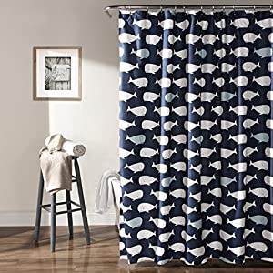 "Lush Decor Whale Shower Curtain, 72"" x 72"", Navy"