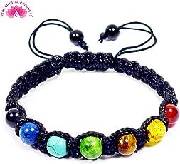 Natural Semi Precious Gemstone 7 Chakra Bracelet 8 mm Beads Bracelet for Reiki Healing and Meditation, Protection - Stone Bracelet by Reiki Crystal Products
