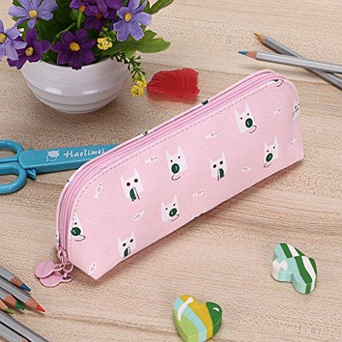 BTSKY Bolso Escolar para Lápices Bolígrafos Plumas Lápices de Cejas con Forma de Pan Estampado de Dibujos Animados de Gatos Material Tela de Nailon Color Rosa
