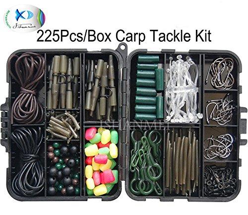 JSHANMEI ® 225pcs/mangas Set Kit de aparejos de pesca de carpas con emerillones/ganchos//tubos de goma/Clips de plomo/cuentas/Aparejos de Pelo/Cabello Extender Tapones Set