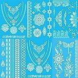 KALLOE Premium Weiß Temporäre Tattoos, 75 + Weiß Mandala Mehndi Boho Designs Wasserdichte Sticker Flash Schmuck Tattoos für Frauen Teens Girls