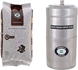 Minerva Coffee Premium Regular Blend Coffee with South Indian Stainless Steel Coffee Filter