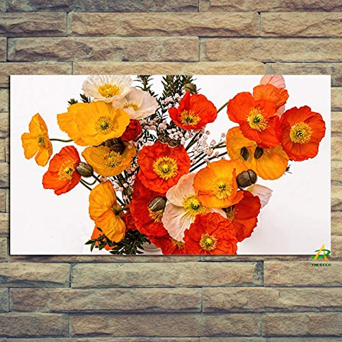 RQMQRL Mohnblumen Bouquet In Vase Leinwand Malerei Kunst Bild Digitaldruck Auf Leinwand Wandkunst ModerneLiving Home Decor Poster -