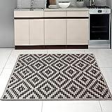 Teppich SISAL Optik in Weiß Schwarz - Modern Küche Flachgewebe