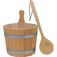 Sauna Set #610, 3-teilig, Kübel aus Lärchenholz, Kunststoffeinsatz, Kelle