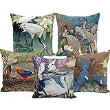 BZHE Vintage Ölgemälde Flamingo Swan Crane Pfirsich Kissenbezug Sofa Kissenbezug Kissenbezug (5 Stück)