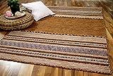 Natur Teppich Bauwolle Kelim Navarro Rost Braun in 8 Größen