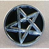 Spilla di Metallo Smaltata Pentagram (Cromato) Pentangle & Colore: Nero
