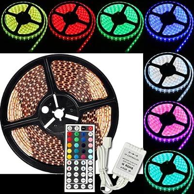 RPGT® SET: RGB 5050 SMD LED Strip Band Leiste Mehrfarbig 5 METER - 150 LEDs - Wasserdicht - INKL. 44 Tasten Fernbedienung