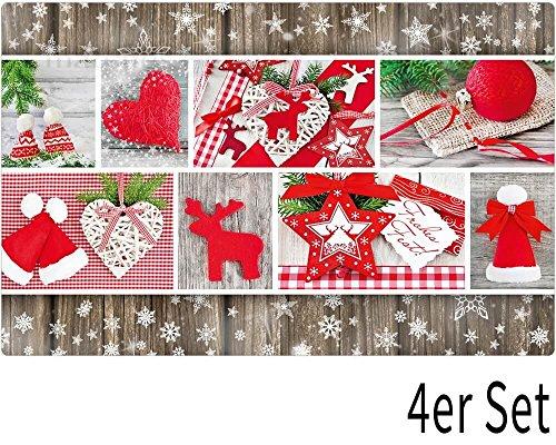 matches21 Tischsets Platzsets Motiv Kollage Weihnachten & Holzoptik 4er Set Kunststoff abwaschbar je 43,5x28,5 cm