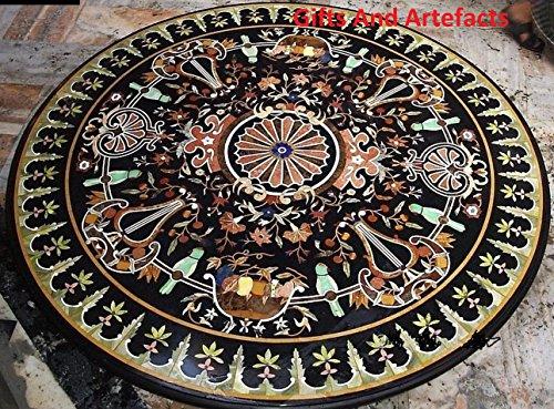 152,4cm Runde Form schwarz Marmor Sofa Center Tisch Top Einlage Einzigartige Einlegearbeiten Dessign (60 In Runde Tisch)
