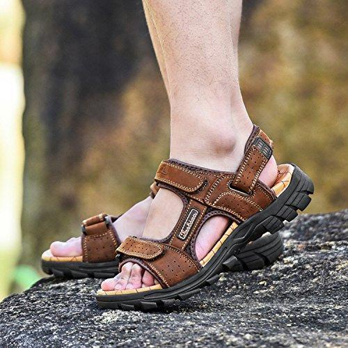 des hommes jeunes d'été des sandales en cuir Dark Brown