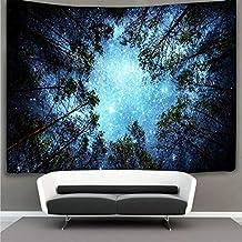 Lomohoo Tapiz de Estrella Bosque Tapices Forest Tapestry Psicodelicos Tapiz Pared Azul para la decoración del