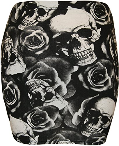 Fast Fashion - Jupe Belle Copie De Point De Polka Mini Noir Blanc - Femmes Skull Rose