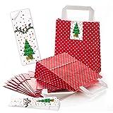 10 kleine rot weiß gepunktete Papier-Tragetaschen Weihnachtstüten Papier-Tüten Boden 18 x 8 x 22 cm + 10 Aufkleber grün weiß WEIHNACHTSBAUM 5 x 15 cm - Verpackung Weihnachtsgeschenke give-away