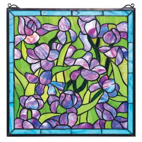 Buntglas-Panel - Van Gogh Saint-Remy Iris Buntglas-Fenster Behang - - Lila Glasmalerei