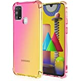 MISKQ Coque pour Samsung Galaxy M31, Renforcer la Version avec Quatre Angles - Souple Silicone étui Protecteur Housse Etui de téléphone Anti-Chute(Rose/d'or)