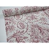 Confección Saymi – Metraje 2,45 mts tejido loneta estampada Toile de Jouy Ref. Verónica Rojo , con ancho 2,80 mts.