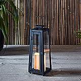 Lanterna Solare in Metallo con Candela LED per Giardino ed Esterni di Lights4fun