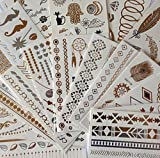 METALLIC TATTOO 10 Stück Set B FAKE TATTOO Flash Tattoo Schmuck Tattoo Kleber für Körper