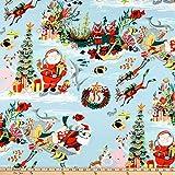Alexander Henry Scuba Santa Light Blue Fabric Stoff,