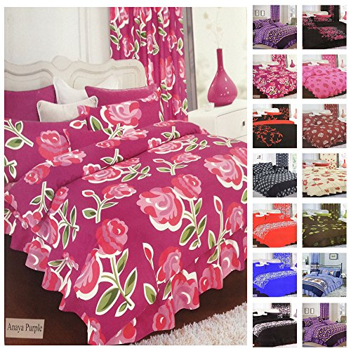 4PC Betten Schlafzimmer komplett Set–Bettwäscheset, Bettbezug Kissenbezüge und Valence Bed Sheet