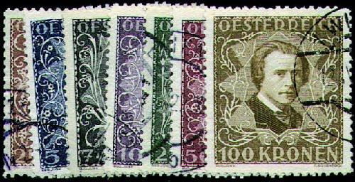 """Goldhahn Österreich Nr. 418-424A gestempelt """"Komponisten und Musiker 1922"""" Briefmarken für Sammler"""