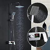 Homelody Colonne de Douche Italienne Avec écran LCD pour Afficher la Température D'eau et le Temps de Douche Colonne douche Ensemble de Douche pour Salle de bains