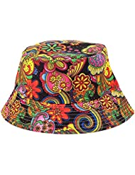Fashionable Unisex Satin Lined Printed Pattern Cotton Bucket Hat