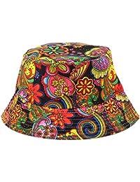 db1177dbbac38e Anjoy Fashionable Unisex Satin Lined Printed Pattern Cotton Bucket Hat