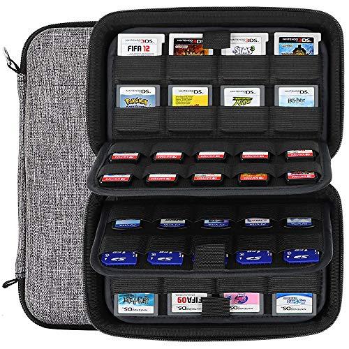 Sisma Funda juegos para 72 cartuchos Nintendo, Compatible con 40 juegos Switch PS Vita tarjetas SD y 32 juegos Nintendo 3DS DS - Gris
