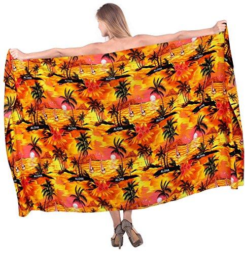 spiaggia del costume da bagno di usura delle donne costumi da bagno sarong bikini vacanze vestito costume da bagno coprire signore arancia