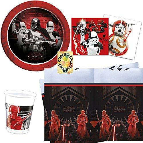 Partyset 53tlg. Teller Becher Servietten Tischdecke für 16 Kinder (Star Wars Geburtstag Dekorationen)