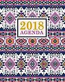 Agenda: 2018 Agenda semainier : 19x23cm : Beau motif aztèque rose