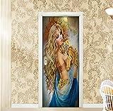 Maize store Retro Bellezza Tiger 3D Adesivi per Porte Creative Carta da Parati per Camera da Letto Soggiorno Decorazioni per La Casa Poster Murale per Decalcomanie 95Cm * 215Cm