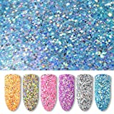 6 Box Nägel Glitzerpuder DIY SOMESUN Nail Powder Neon Spiegel Glitzer...