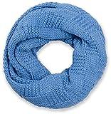 styleBREAKER Strick Loop Schal mit Patentmuster, Uni Feinstrick Schlauchschal, Winter Strickschal, Unisex 01018152, Farbe:Blau