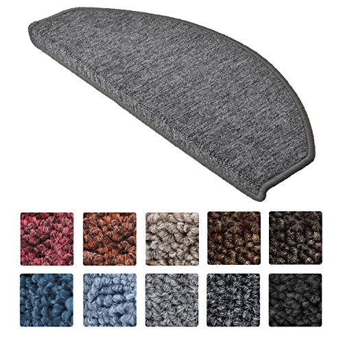 Beautissu 15 Large Stair Pads ProStair 28 x 65 cm Step Carpet Non Slip Adhesive Mat / Rug for Stair Tread Grey