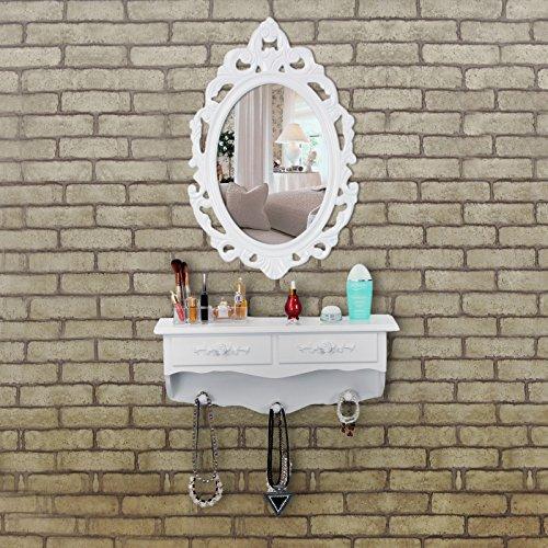 Songmics kleine Schminktisch 2 Schubladen Wandkonsole mit Spiegel, Haken Landhaus weiß RDT16W - 2