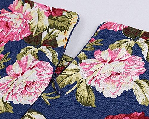 Robe À Audrey Hepburn Classique Vintage 50'S 60'S Style Partie Robe De Cocktail En Soirée Florale Imprimée Cocktail Bleu
